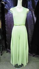 60s 70s Light Sage Green Poly Jumpsuit w/ Accordion Pleat Legs w/ Belt Sz Sm