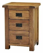 Logan solid oak furniture three drawer bedroom bedside lamp table