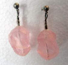 "1.5"" Drop Dangle Earrings Light Pink Nugget Acrylic Bead Silver Tone Accent"