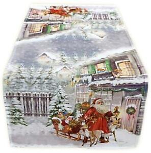 Weihnachtsmann Tischläufer 40 x 90 cm WEIHNACHTEN pflegeleichte Weihnachtsdecke