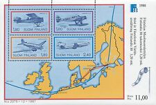 Finland 1988 MNH Sheet - Finlandia 1988 - Airplanes and Map - Scott 773