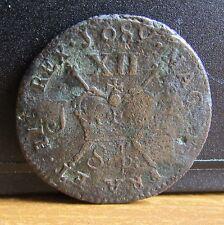 Sep 1689 King James 2nd Ireland  Williamite War Gun Money XII Coin