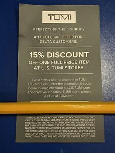 Tumi 15% discount coupon online or in store expires December 31, 2020 - VERIFIED