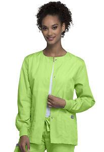 Cherokee Workwear Women Originals Snap Front Warm-Up Jacket 4350 LMGW Lime Green