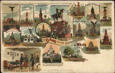 Gruss von den Schlachtfeldern bei Worth Germany Multi-Vew c1910 Postcard jrf
