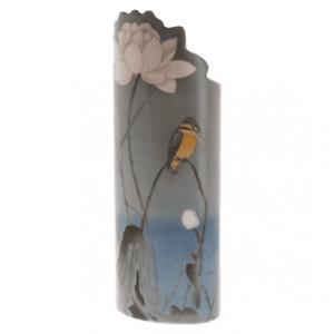 Silhouette d'art Vase - Koson, Kingfisher with Lotus Flower Bird SDA41