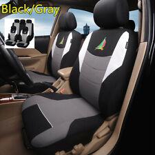 9Pcs Black/Gray Car Seat Covers Full Set Cushion Protector Interior Accessories