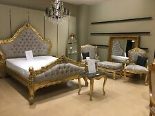 Mahogany Large Boudior Gilt Gold Leaf & Champagne French Ornate Rococo King Bed