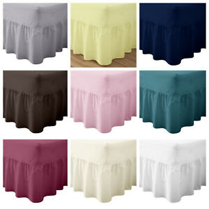 Plain Pollycotton Percale Valance Fitted Sheet Single, Double King, Super King