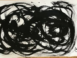 Vintage Abstract Painting, Oil on paper, by Michael Werner , dated 86, 22x15inch