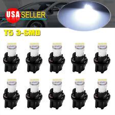 10X White PC74 T5 3SMD Led Instrument Gauge Dashboard Light Bulb + Twist Sockets