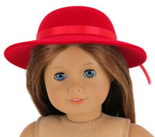 """Red Velvet Flocked Derby Hat made for 18"""" American Girl Doll Clothes"""