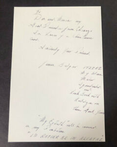 Whitey Bulger - Signed - Hand Written Letter - Postcard - Mafia - FBI- Autograph
