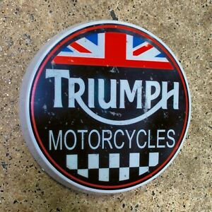 TRIUMPH MOTORCYCLES LED ILLUMINATED WALL LIGHT GARAGE SIGN UNION JACK VINTAGE