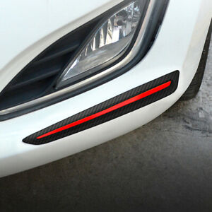 2pcs Car Front Bumper Soft Strip Guard Protect Carbon Fiber Garnish Accessories