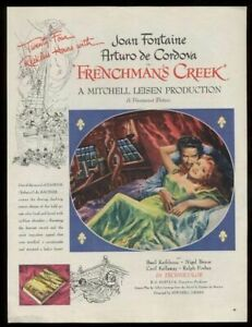 1945 Joan Fontaine Arturo de Cordova Frenchman's Creek movie vintage print ad