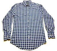 Neiman Marcus Mens Blue Plaid Front Pocket Shirt Size 15.5 34/35 Trim Fit