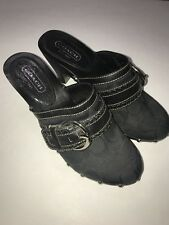 COACH SABLE Silver-Studded Black Signature Fabric & Leather Heeled Clogs 7 M