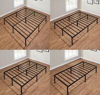 14 INCH HEAVY DUTY Slat Bed Frame, Multiple Size Metal Platform, Black Steel