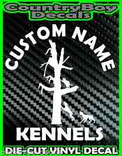 CUSTOM Dog KENNELS Vinyl DECAL Sticker Hunt Hunting Coon Deer Diesel Truck Car