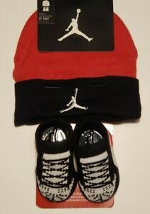 Nike Air Jordan Girls or Boys Infant Hat & Booties Set Size 0 - 6 Months