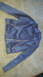 Peacocks Navy Blue Faux Suede Biker Jacket - Size 12