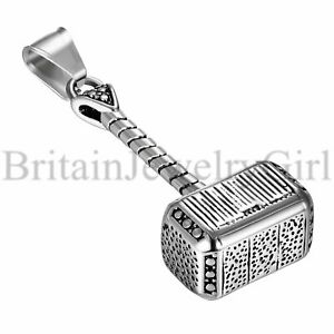 """22"""" Charm Stainless Steel Vintage Thor's Hammer Pendant Chain Necklace Men"""