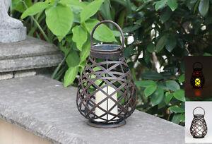 Solar Powered Garden Metal Rattan Solar Lantern Illuminate LED Candle Light