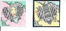 2 timbres de france autocollante coeur griffé balmain fond jaune et rose 2017