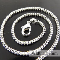 NECKLACE PENDANT CHAIN GENUINE REAL 925 STERLING SILVER SOLID SF FINE BOX DESIGN