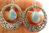 Blue Larimar Ornate Circle 925 Sterling Silver Dangle Drop Earrings