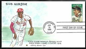 1989 Lou Gehrig FDC #2417 - Bob GIBSON Cachet HAND PAINTED by Doris GOLD