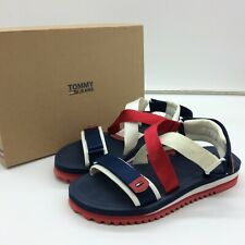 TOMMY JEANS LADIES UK 8 EU 42 STRAP SANDALS NAVY RED WHITE M