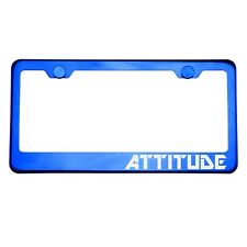 Blue Chrome License Plate Frame ATTITUDE Laser Etched Metal Screw Cap