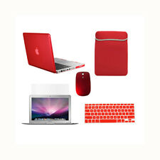 """5 in1 Crystal RED Case for Macbook PRO 15""""+Keyboard Cover+LCD +Sleeve Bag +Mouse"""