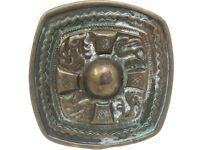 Aztec Copper Brass Antique Patina Finish Western Belt Buckle