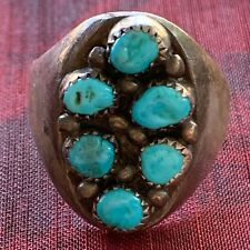 VINTAGE NATIVE AMERICAN SILVER and TURQUOISE  Large MEN'S RING NAVAJO STYLE