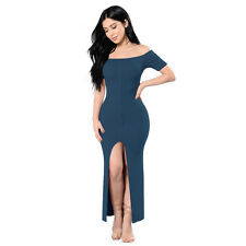 Women's Slim Bandage Bodycon Off Shoulder Evening Party Club Stretch Slit Dress