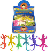 24 Stretchy Lizards Lots Of Kids Party Bag Fillers Stretch Plastic Boy Girls Toy