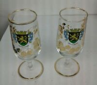 "HTF Set Of 2 Vintage German Wine Glasses Heidelberg Crest  6.5"" Tall EUC"