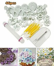 46pcs DIY Cake Decoration Mold Fondant Mould Tool Set Marzipan Icing Flower Kit