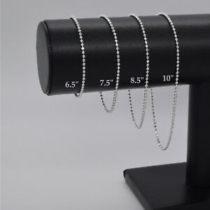 Genuine 925 Sterling Silver 2mm Diamond Cut Ball Bead Bracelet