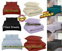 100% Brushed Cotton Thermal Flannelette Fitted Sheet Flat Bed Sheet Pillowcase