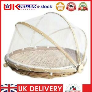 Folding Bamboo Basket Mosquito Dustpan Food Storage Dustproof Cover (S)