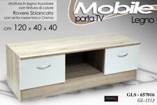 MOBILE PORTA TV H40*120*40 CM ARREDO MODERNO ROVERE SBIANCATO LEGNO GLS 657016