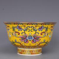 Chinese Qing Qianlong Famille Rose Porcelain Yellow Glaze Flowers 福 Design Bowl
