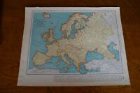 1937 Map of Europe - Map of The British Isles on Reverse