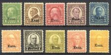 U.S. #658/68 Mint Nh - 1929 Kansas Overprints ($396)