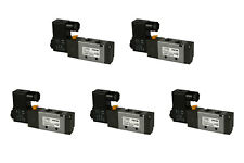 "5x 12V DC Solenoid Air Pneumatic Control Valve 5 Port 4 Way 2 Position 1/4"" NPT"