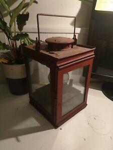 ORIGINAL VINTAGE LARGE RED LANTERN OIL LAMP